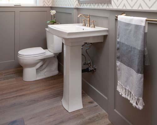 grey bathroom wainscoting - new home builder NJ jersey Shore