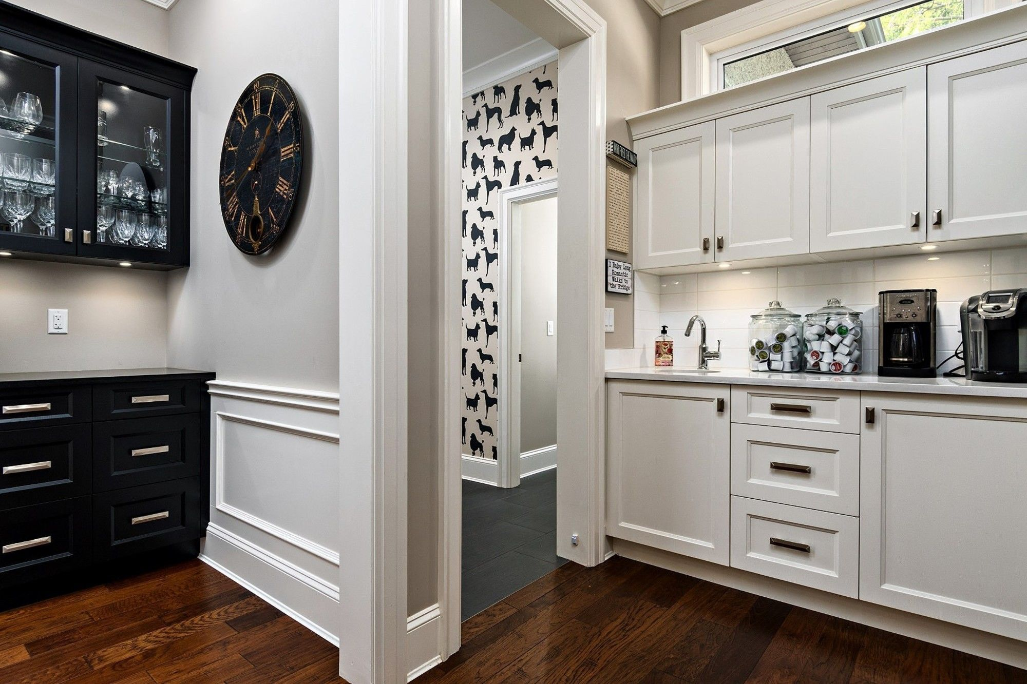 White Built In Shelving White Wainscoting In Pantry Home