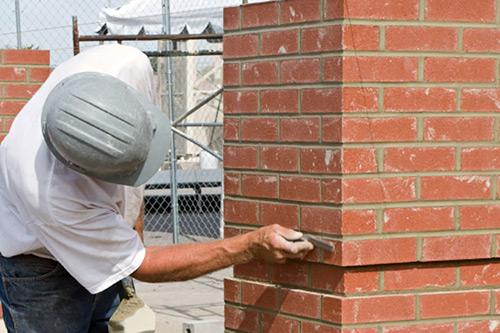 Brick veneer being installed in NJ