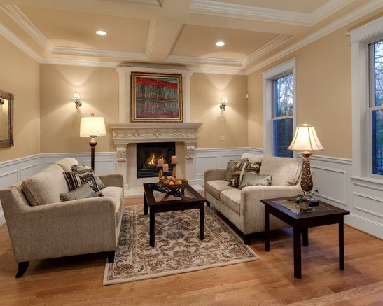 design build construction on this custom living room coffered ceiling