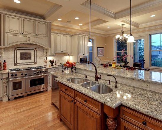 design build construction on this custom luxury kitchen coffered ceiling