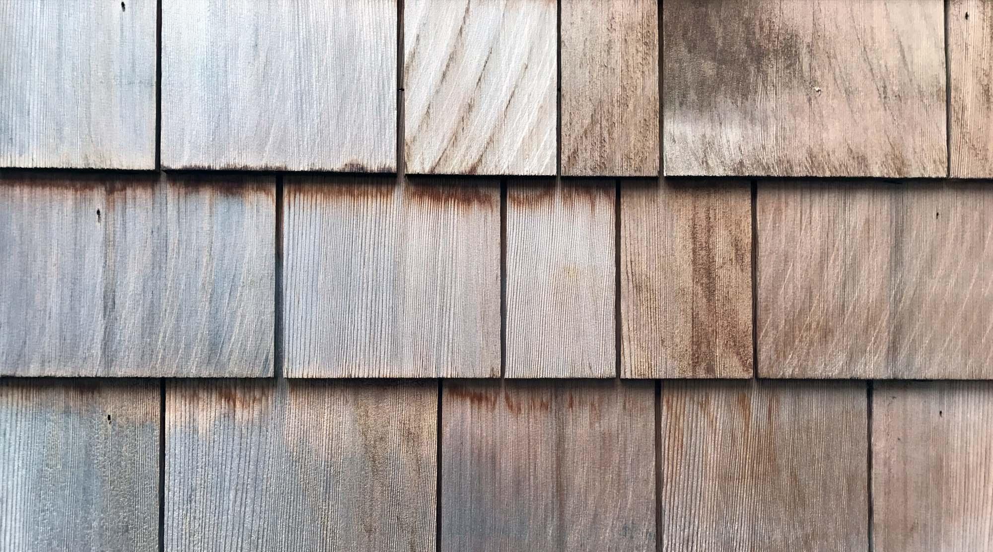 cedar shingle siding close up