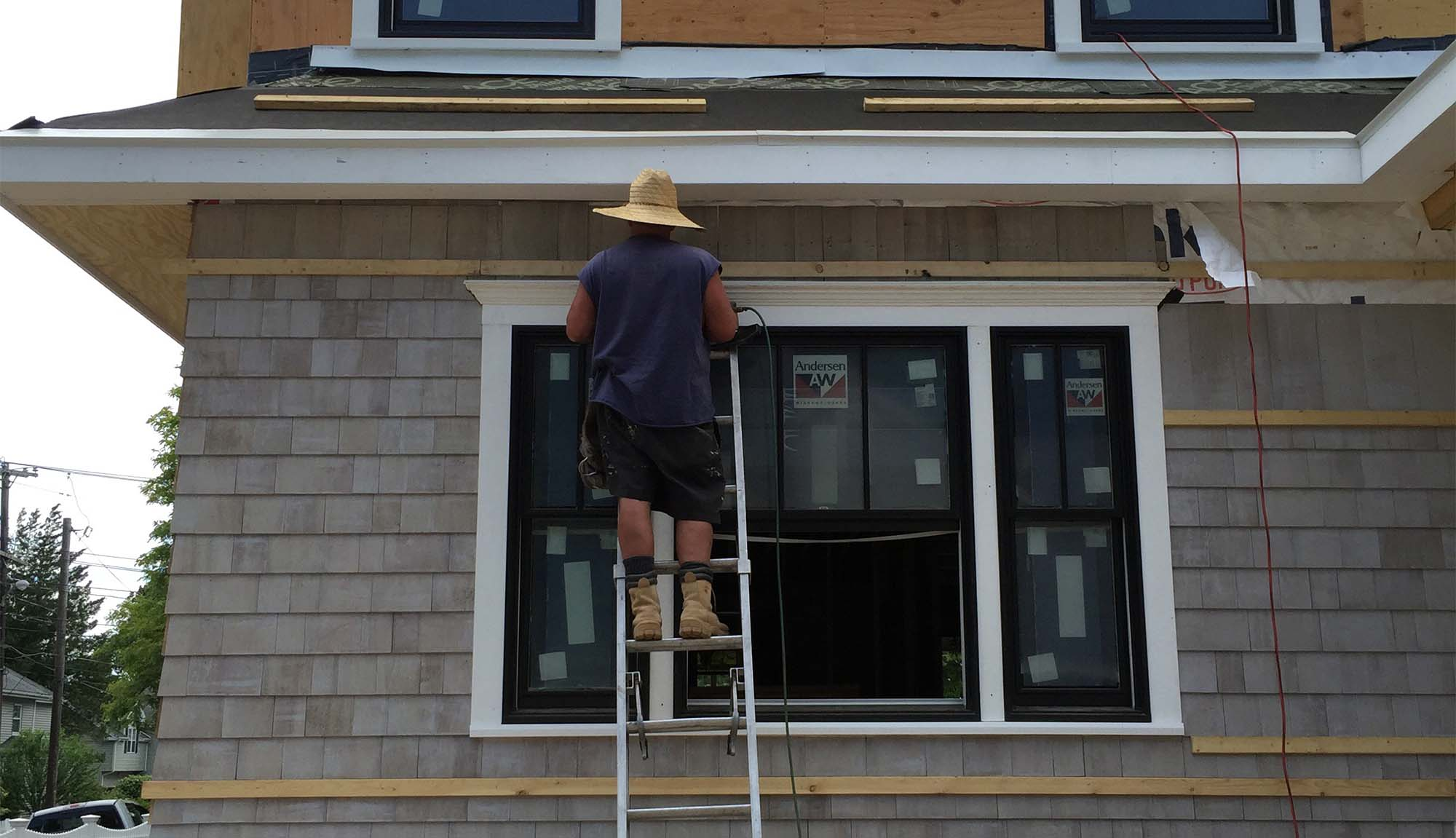 direct cedar shingle siding installation white cedar shingles black frame anderen windows white azek trim