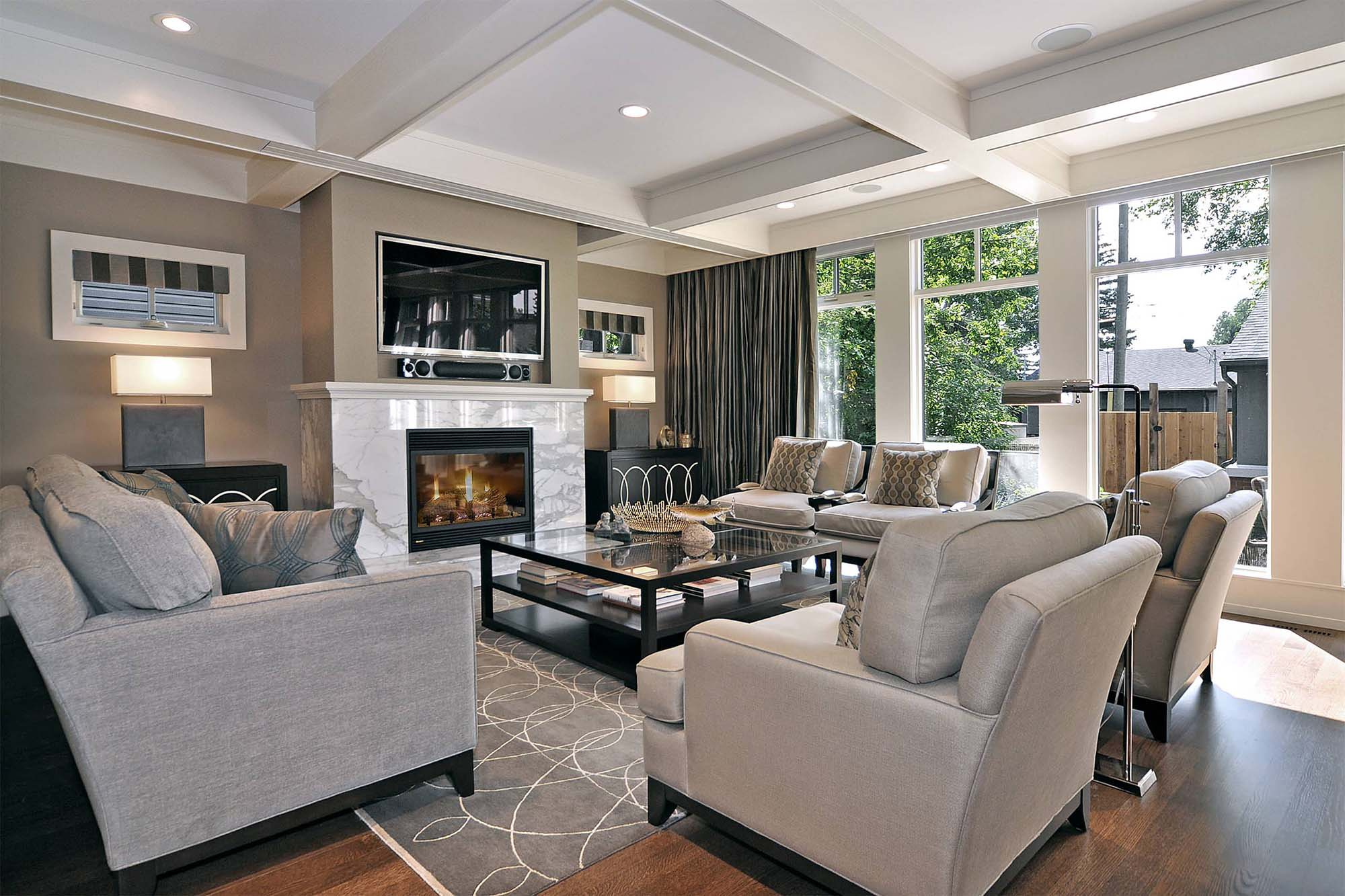 what trim should I use custom coffered ceiling in a living room Gambrick Luxury Home Builder NJ