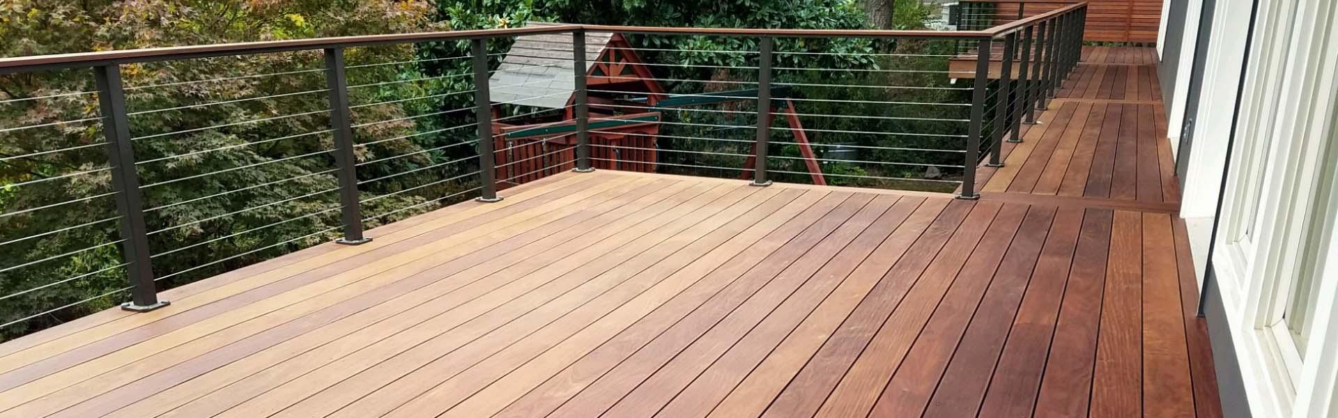 custom deck builder point pleasant NJ Ipe Deck wire railing