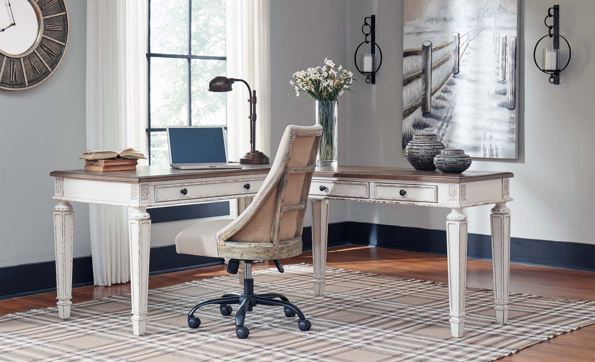 flex room office ideas white desk with white chair checkered area rug