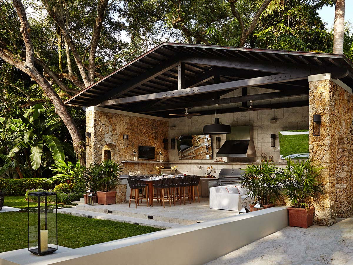 outdoor kitchen ideas beautiful covered outdoor kitchen with dining table