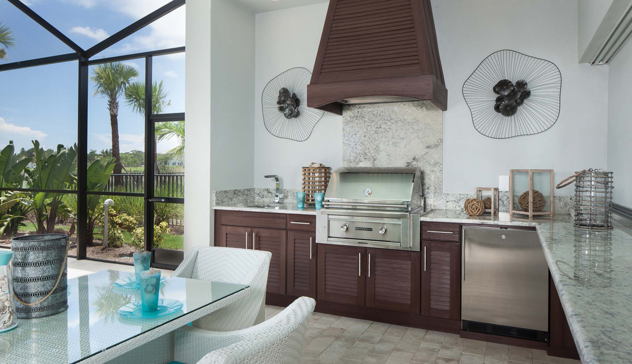 beautiful outdoor kitchen sunroom design brown cabinets stainless grill
