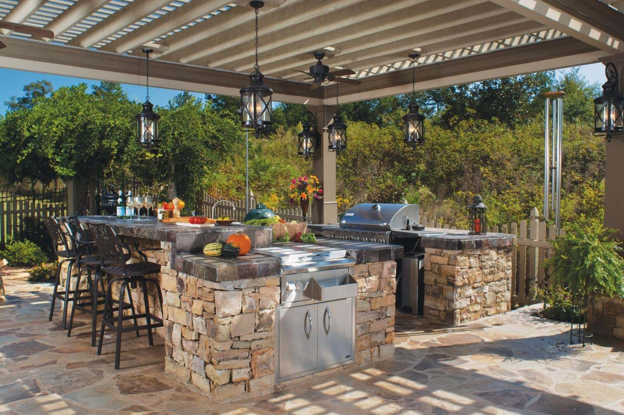 outdoor kitchen ideas covered grill and countertop pergola real stone stainless grill
