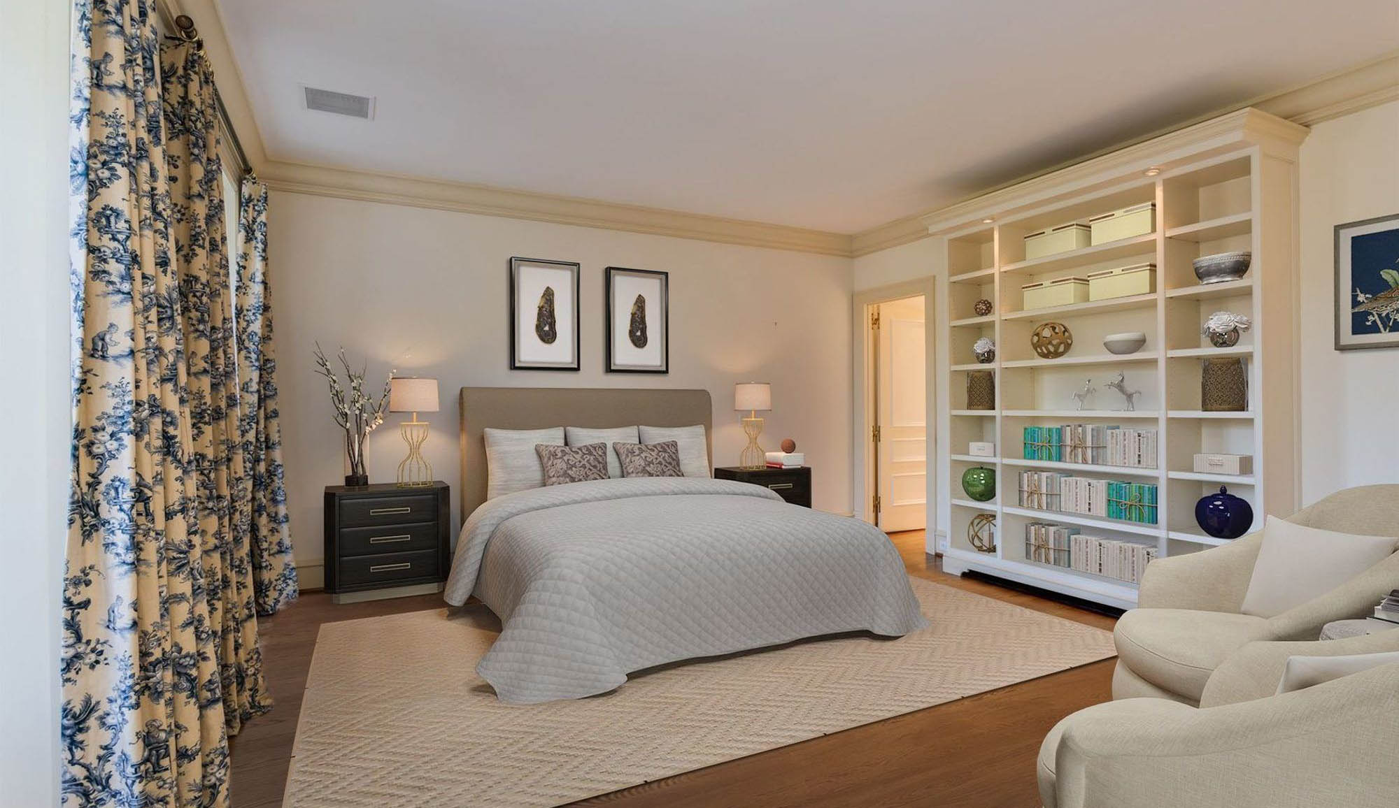 master bedroom design with built in shelving cream color palette