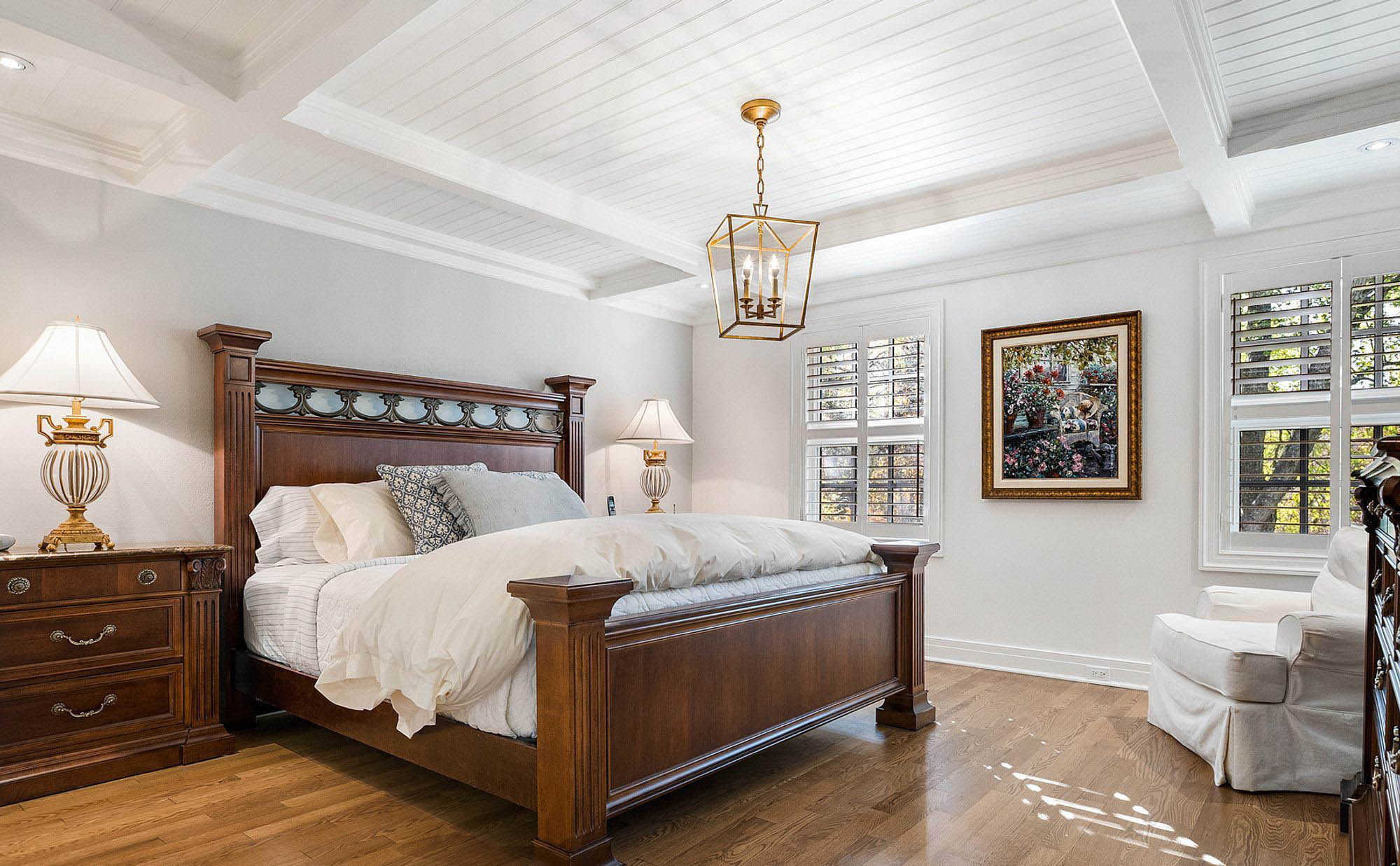 small master bedroom with all white coffered ceiling dropped beams with beadboard coffers