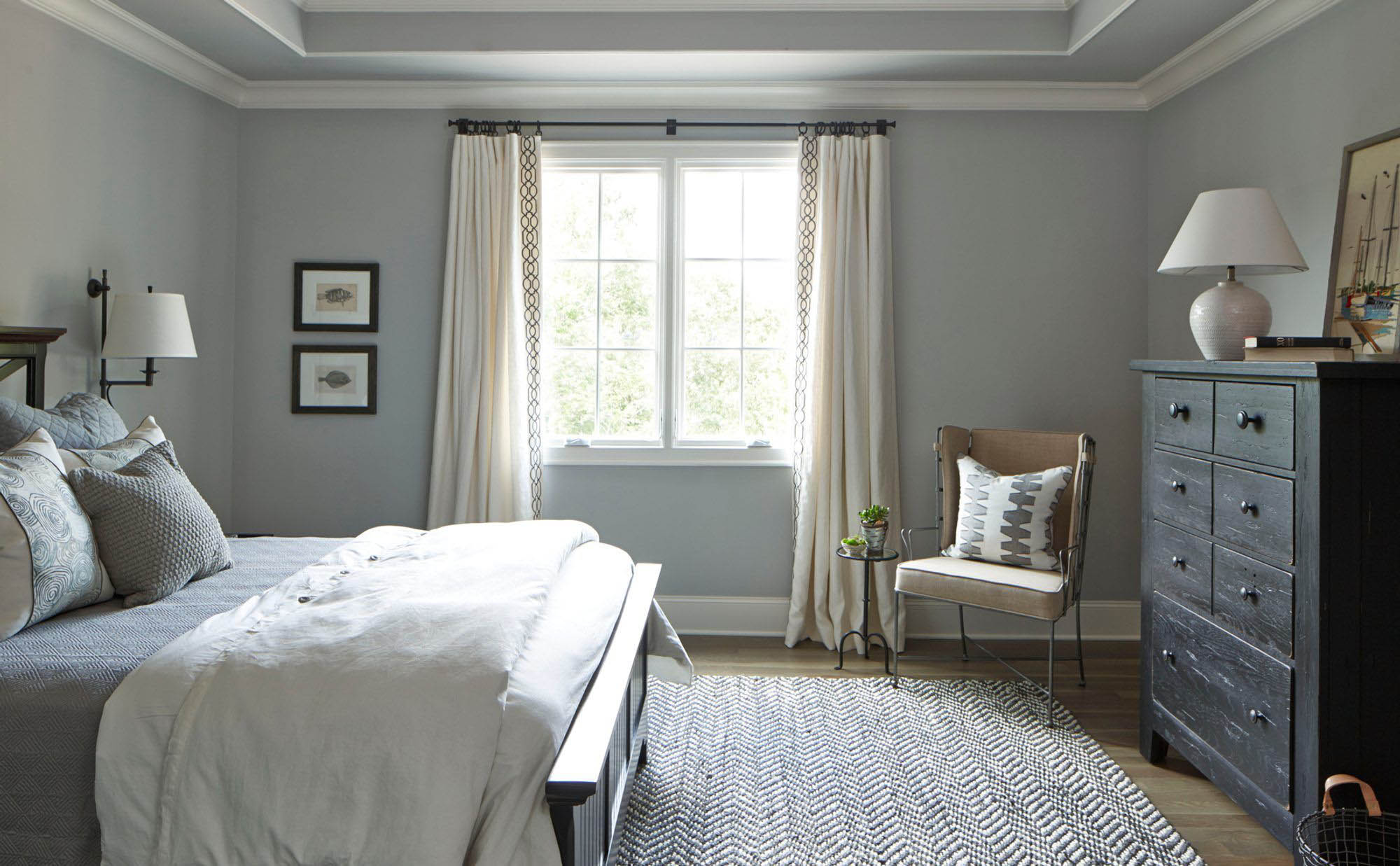 small gray master bedroom design idea gray walls with gray bedding black frame and dresser