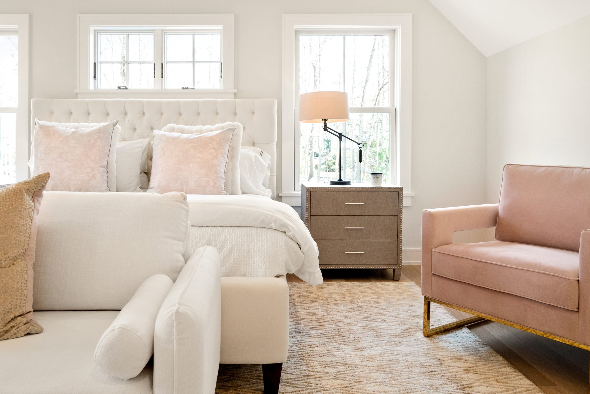 beautiful master bedroom design salmon pink decor with cream and tan
