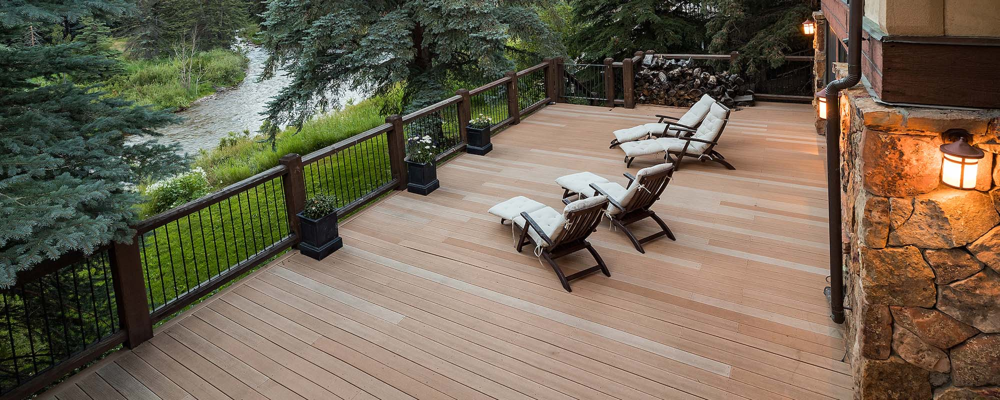 custom wood deck on a stream custom deck builder ocean county NJ - Gambrick
