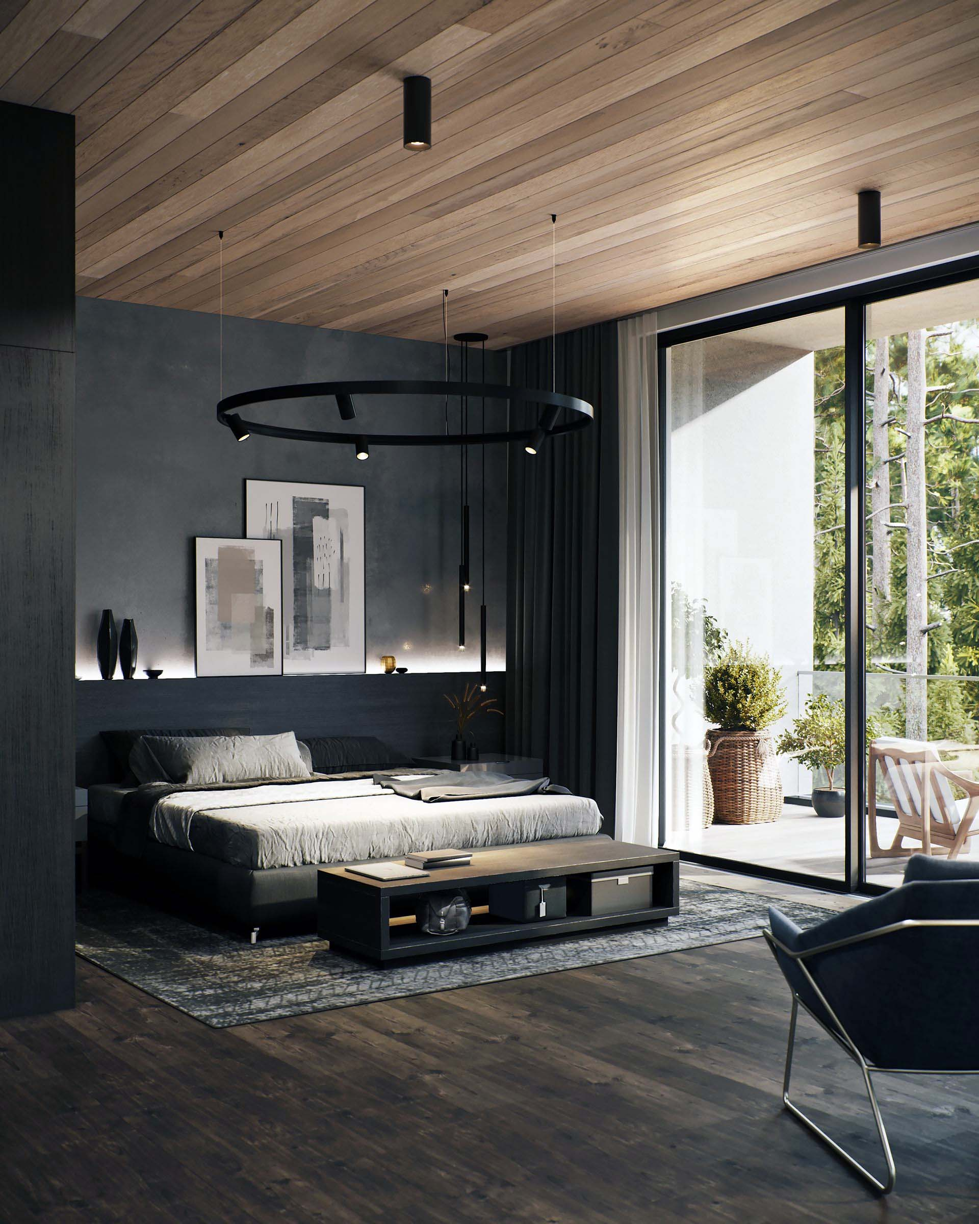 ultra modern contemporary master bedroom design with dark hardwood floors light wood ceiling black walls