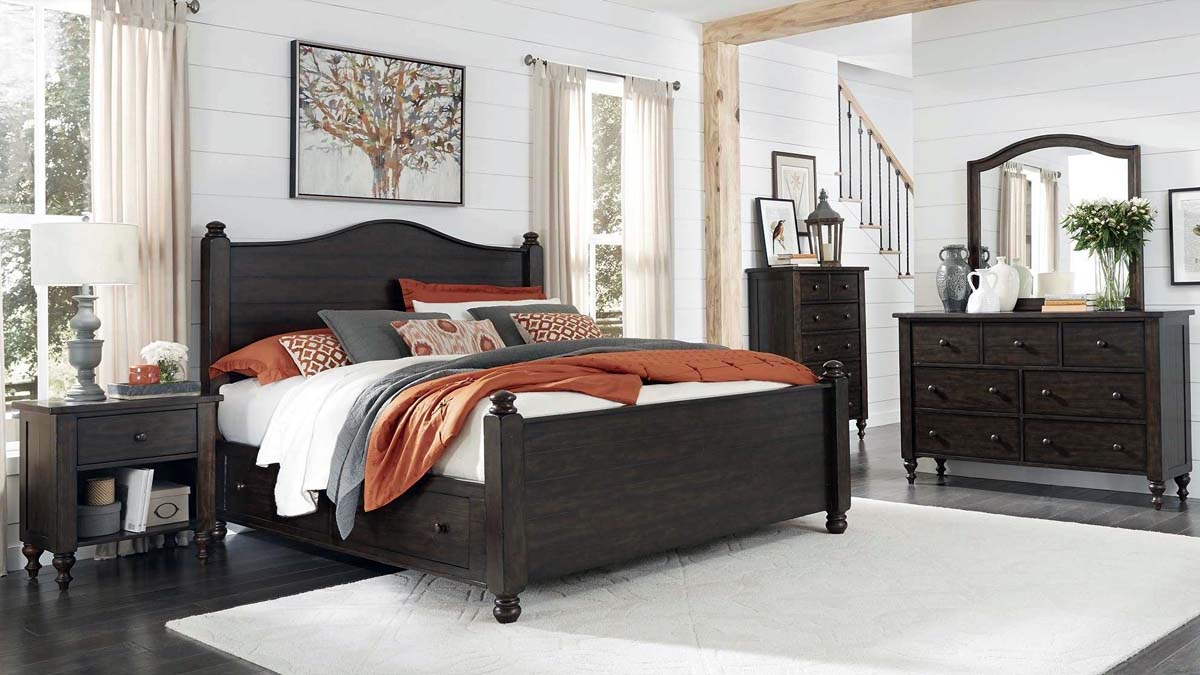 master bedroom design shiplap walls wuth dark wood furniture set exposed real wood