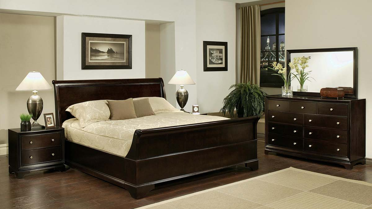 master bedroom design rich dark wood bed frame with matching dresser hardwood floors cream area rug