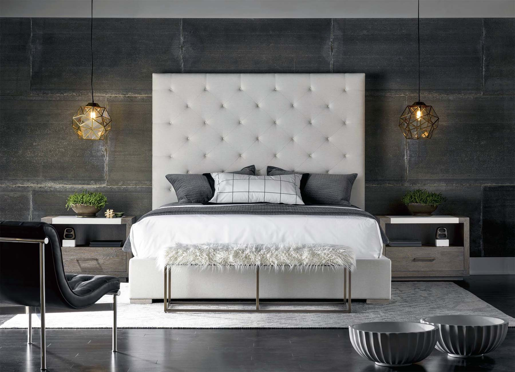 master bedroom with modern design dark color scheme white plush bed frame gray and white colors