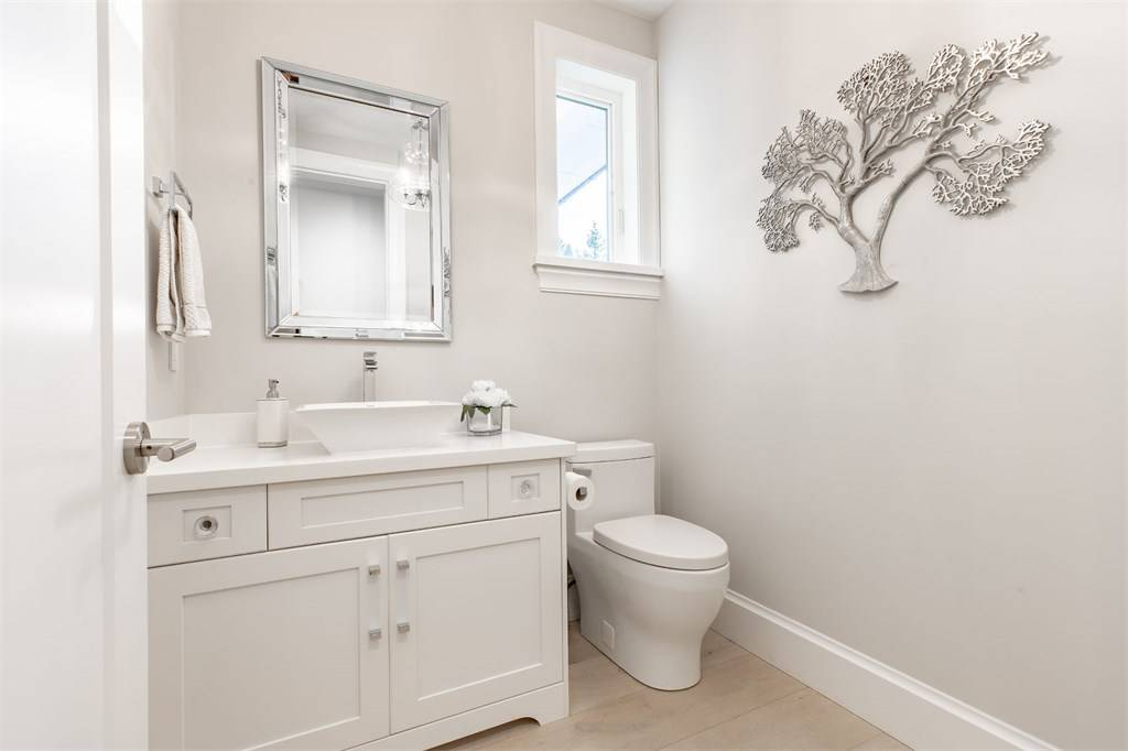 white room ideas all white guest bathroom Gambrick home builder NJ