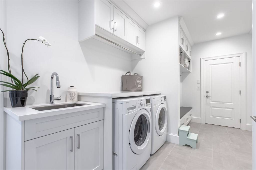 white room ideas all white laundry room theme Gambrick Home Builder NJ