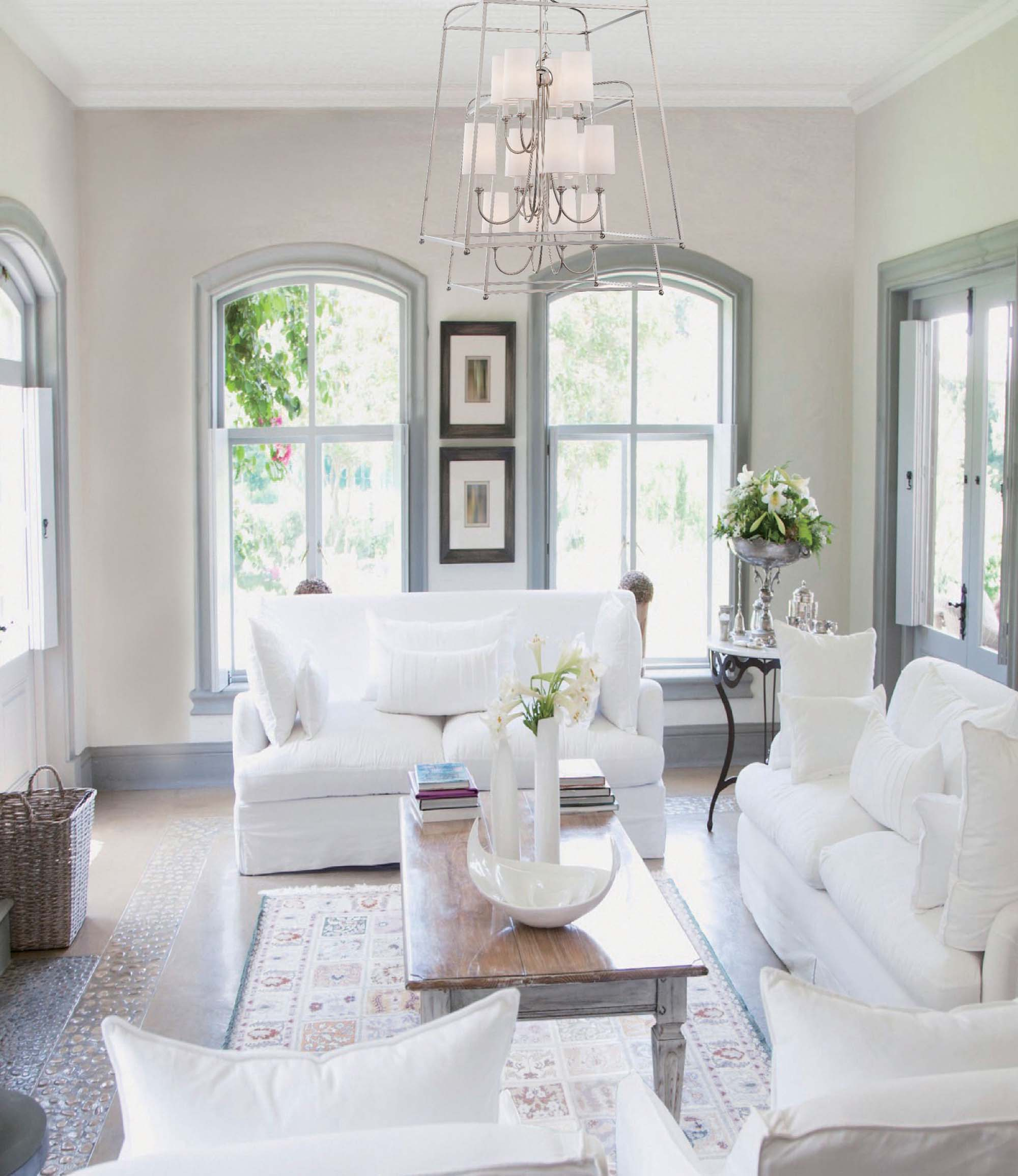 all white room ideas living room with all white theme light blue secondary color arched windows Gambrick Luxury Home Builder NJ