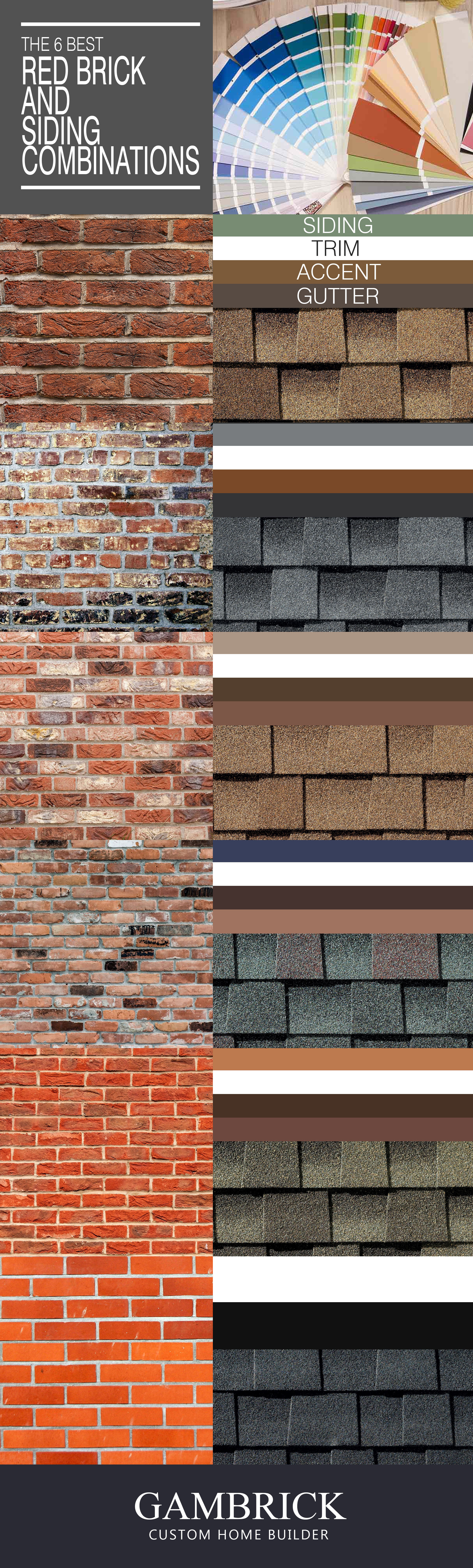 best red brick & siding color combinations infographic