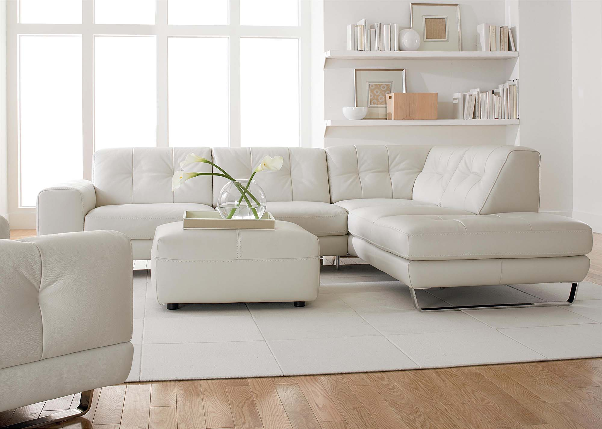 white room ideas all white living room white leather sofas Gambrick Luxury home builder NJ