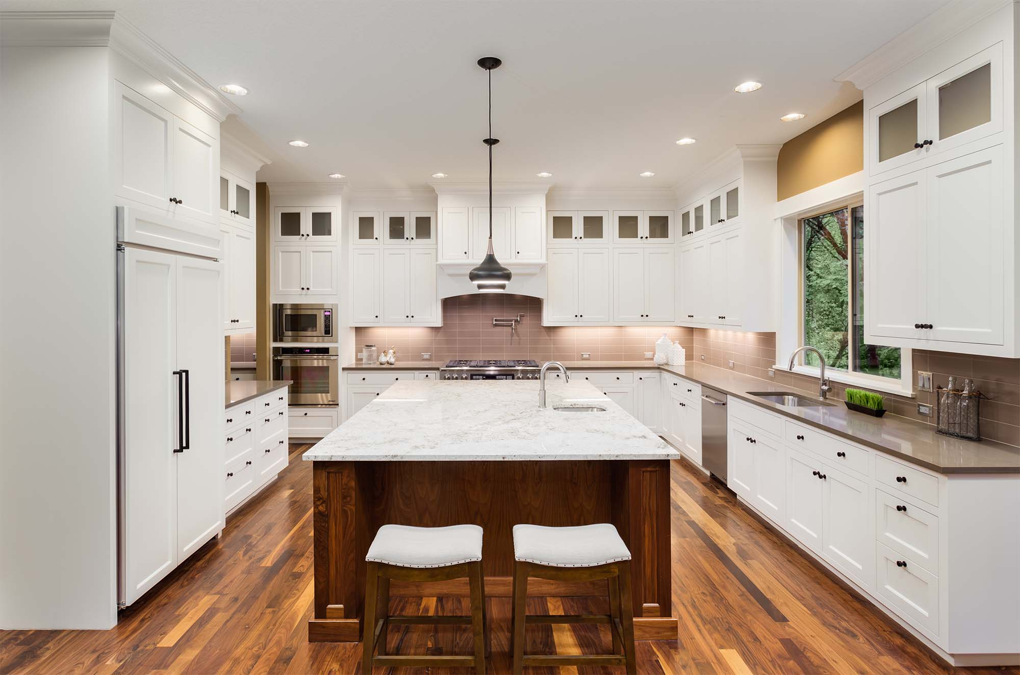 luxury kitchen design ideas white shaker cabinets wood floors luxury home builder Gambrick NJ