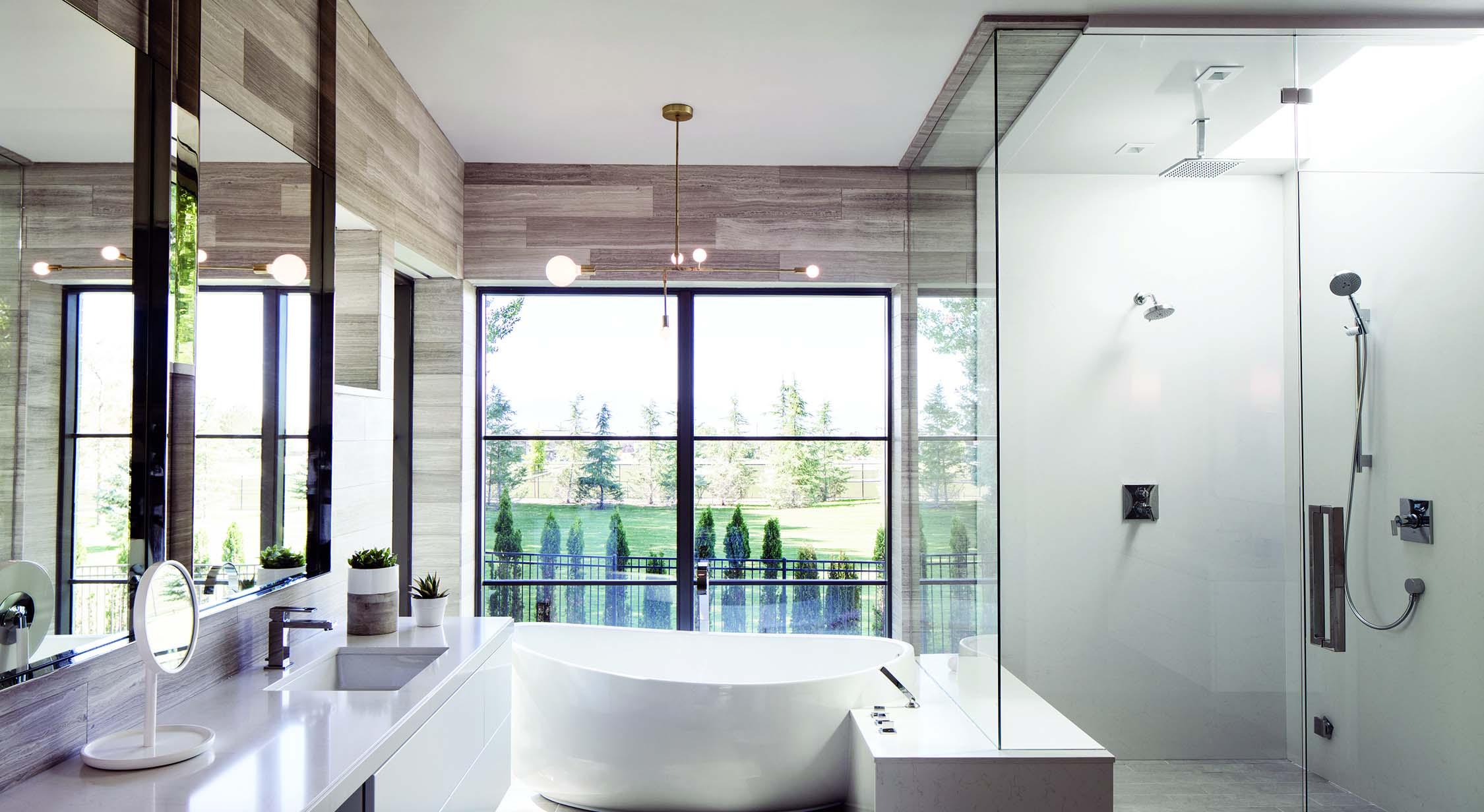 beautiful luxury master bathroom soaking tub glass shower