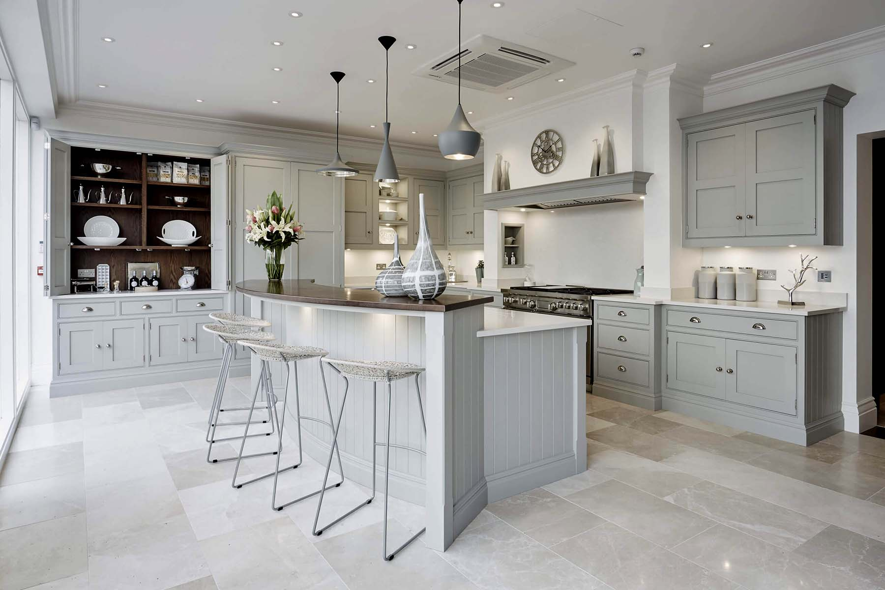pale gray and white dream itchen design dark brown accents and stainless appliances