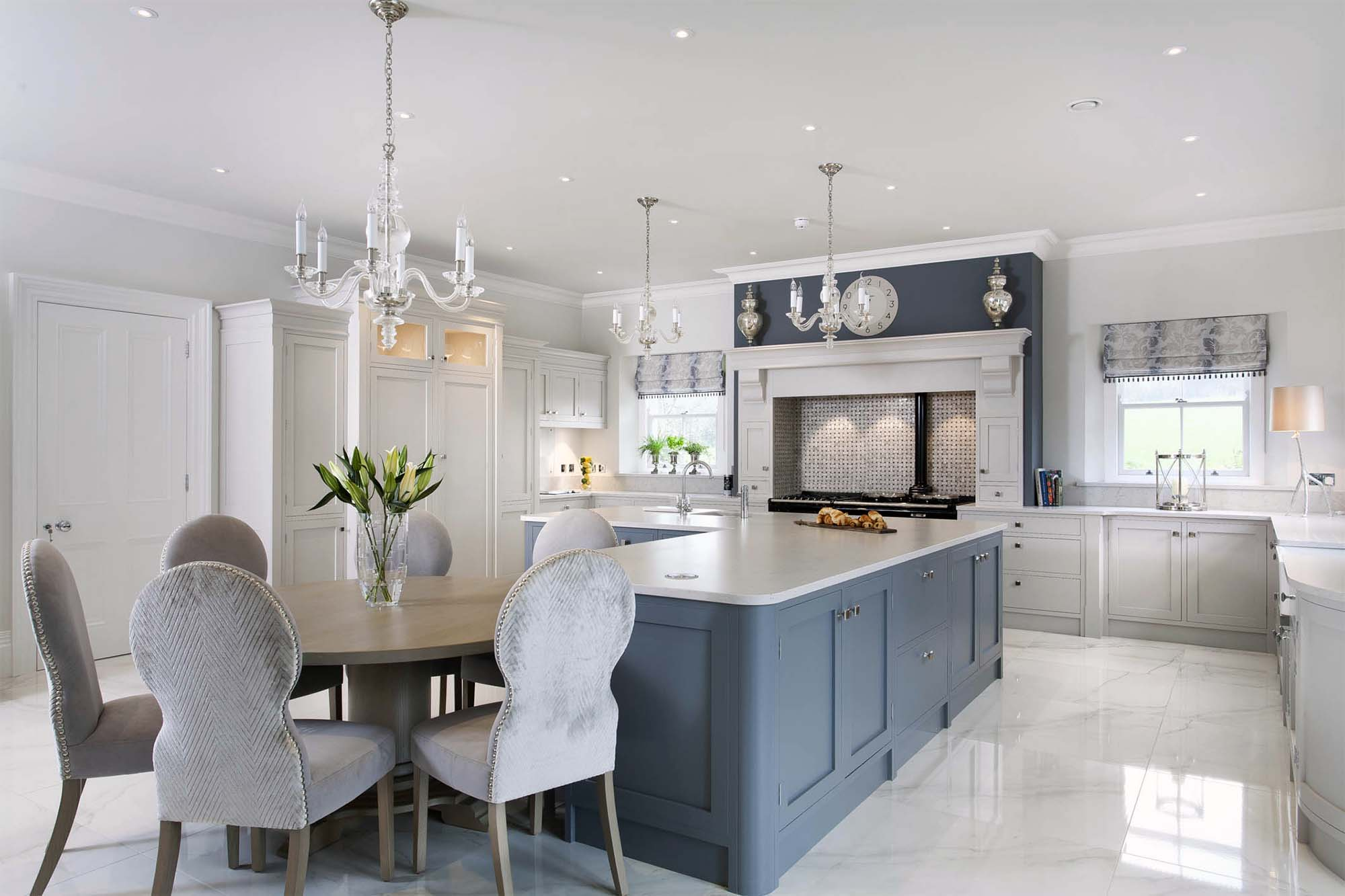 luxury kitchen design ideas white and blue cabinets Gambrick custom home builder NJ