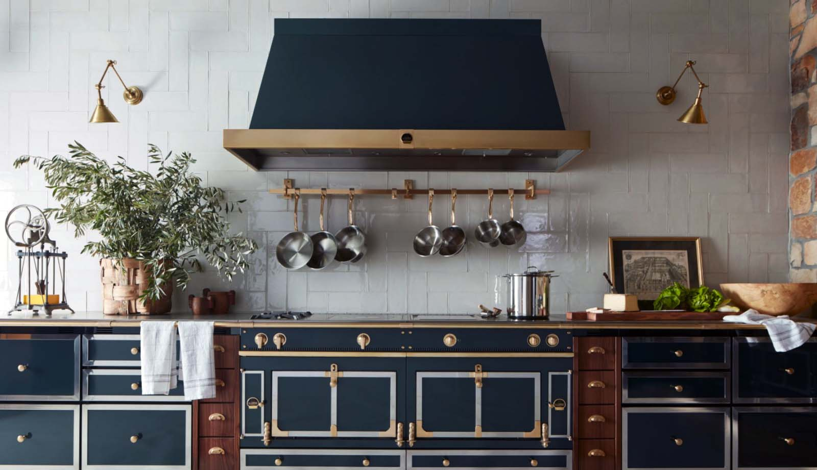high end appliances la cornue luxury kithcen dark blue range with custom hood gold accents