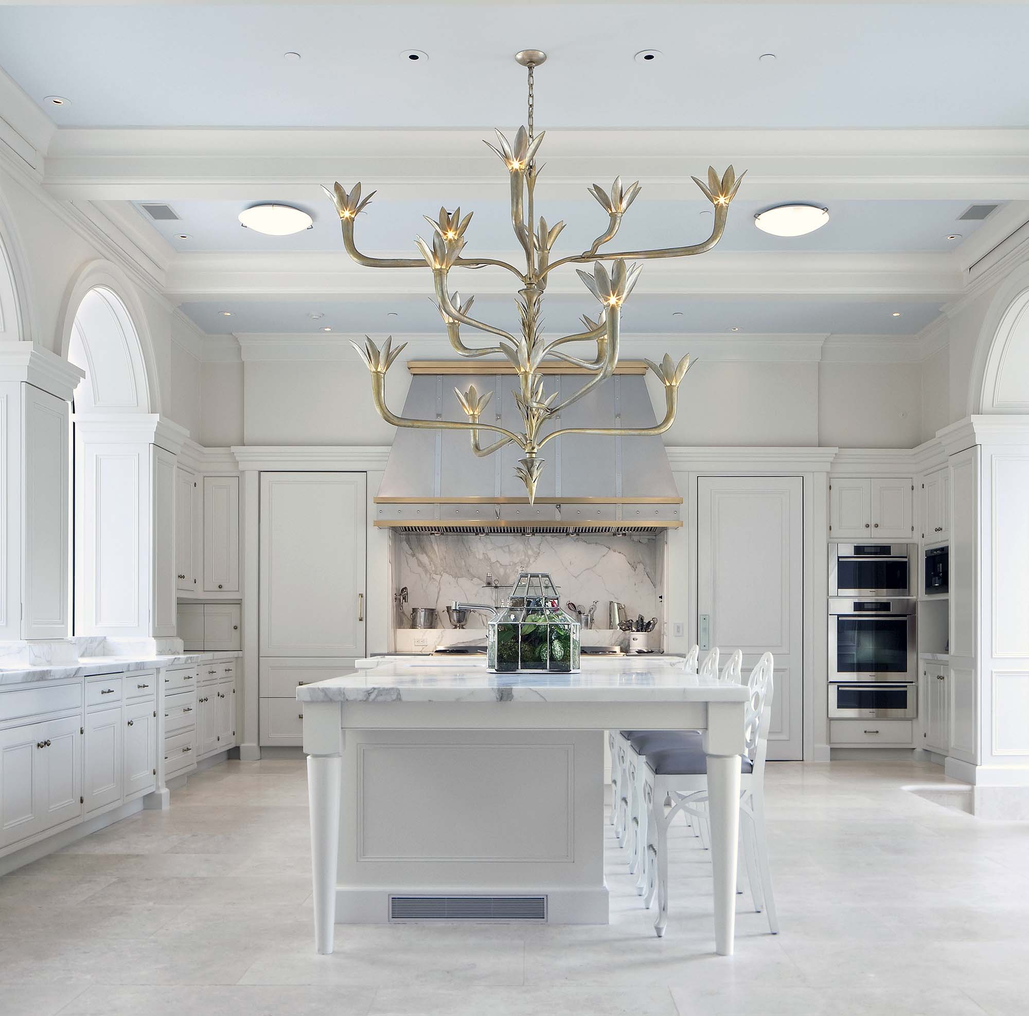 luxury dream kitchen all white with marble gold chandeliers