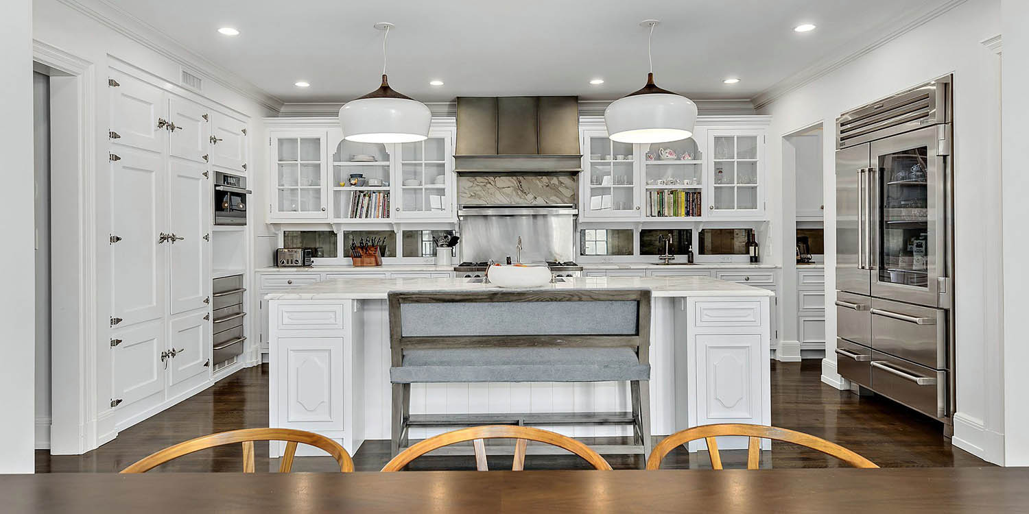 white and marble high end kitchen design