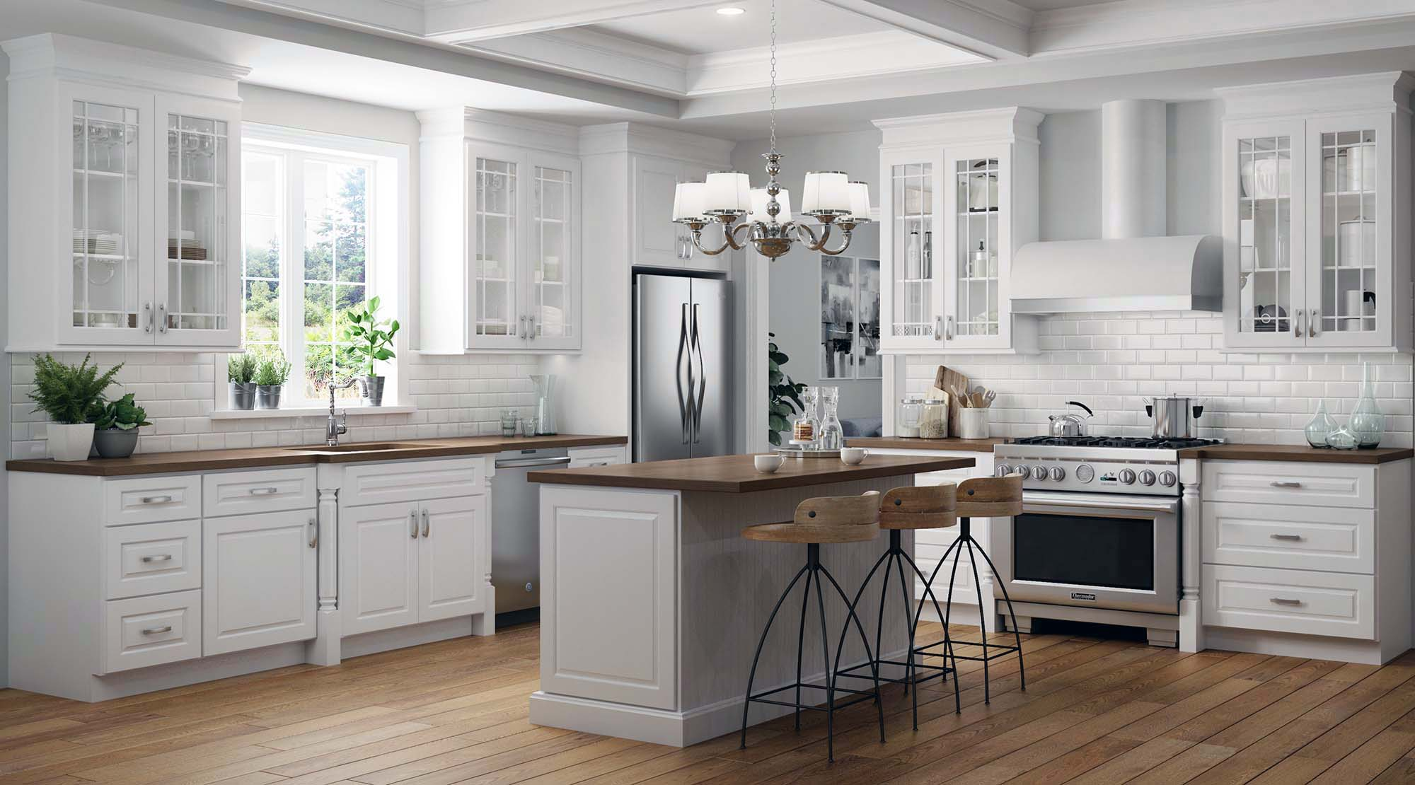 luxury kitchen design ideas white kitchen with wood countertops luxury home builder Gambrick NJ