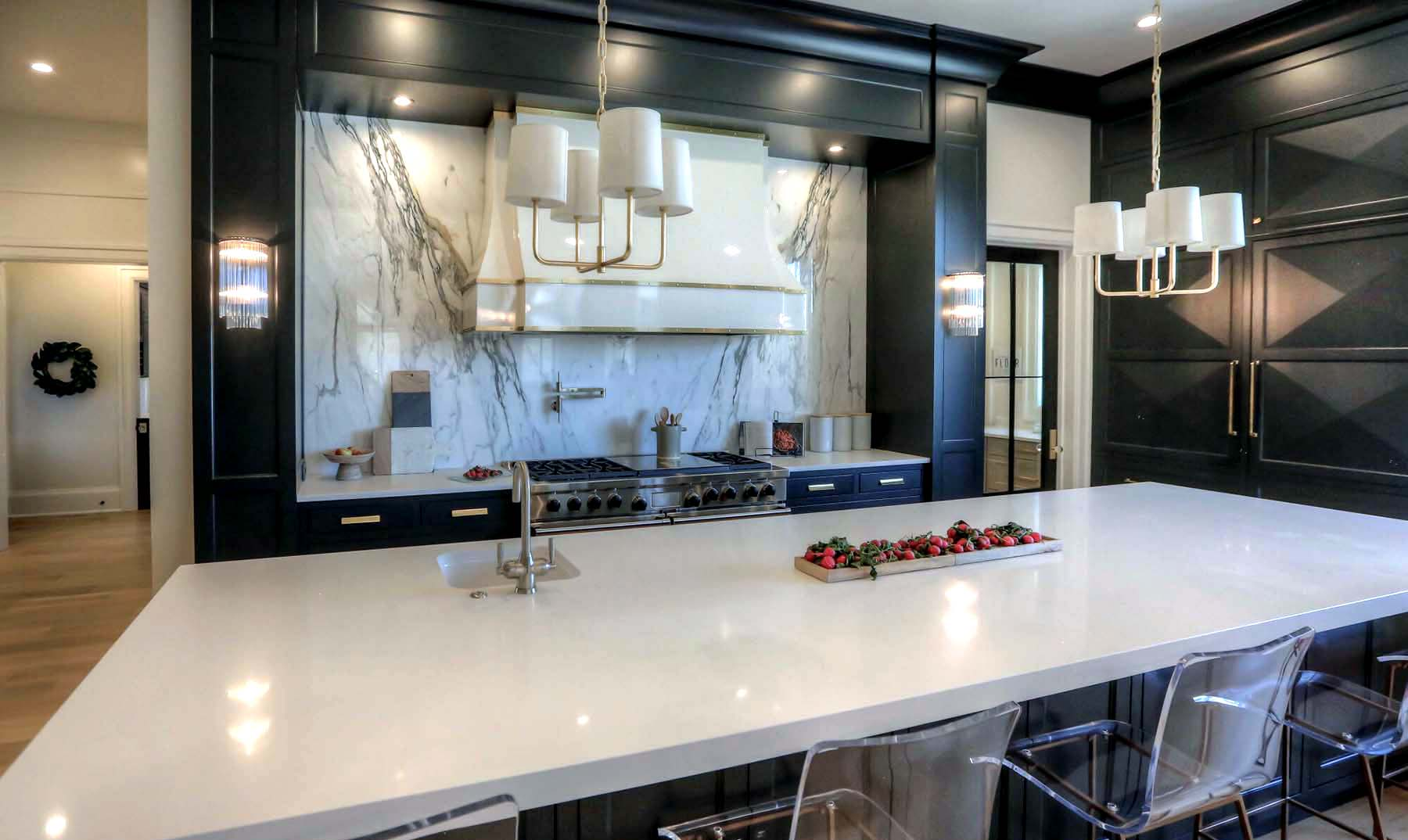 black and white luxury kitchen design black cabinets with white marble