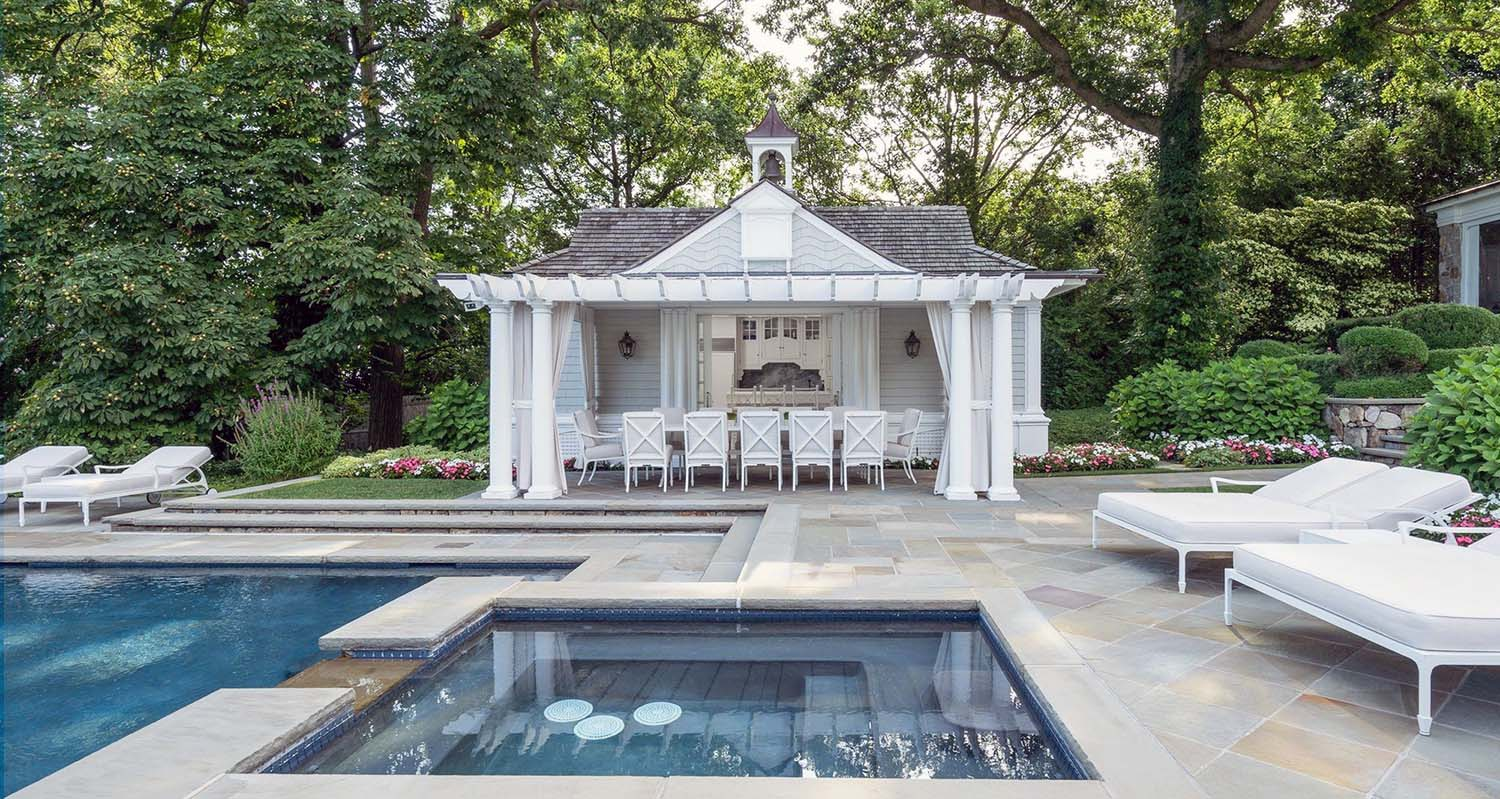 pool house design idea grey siding white trim cottage look cute design