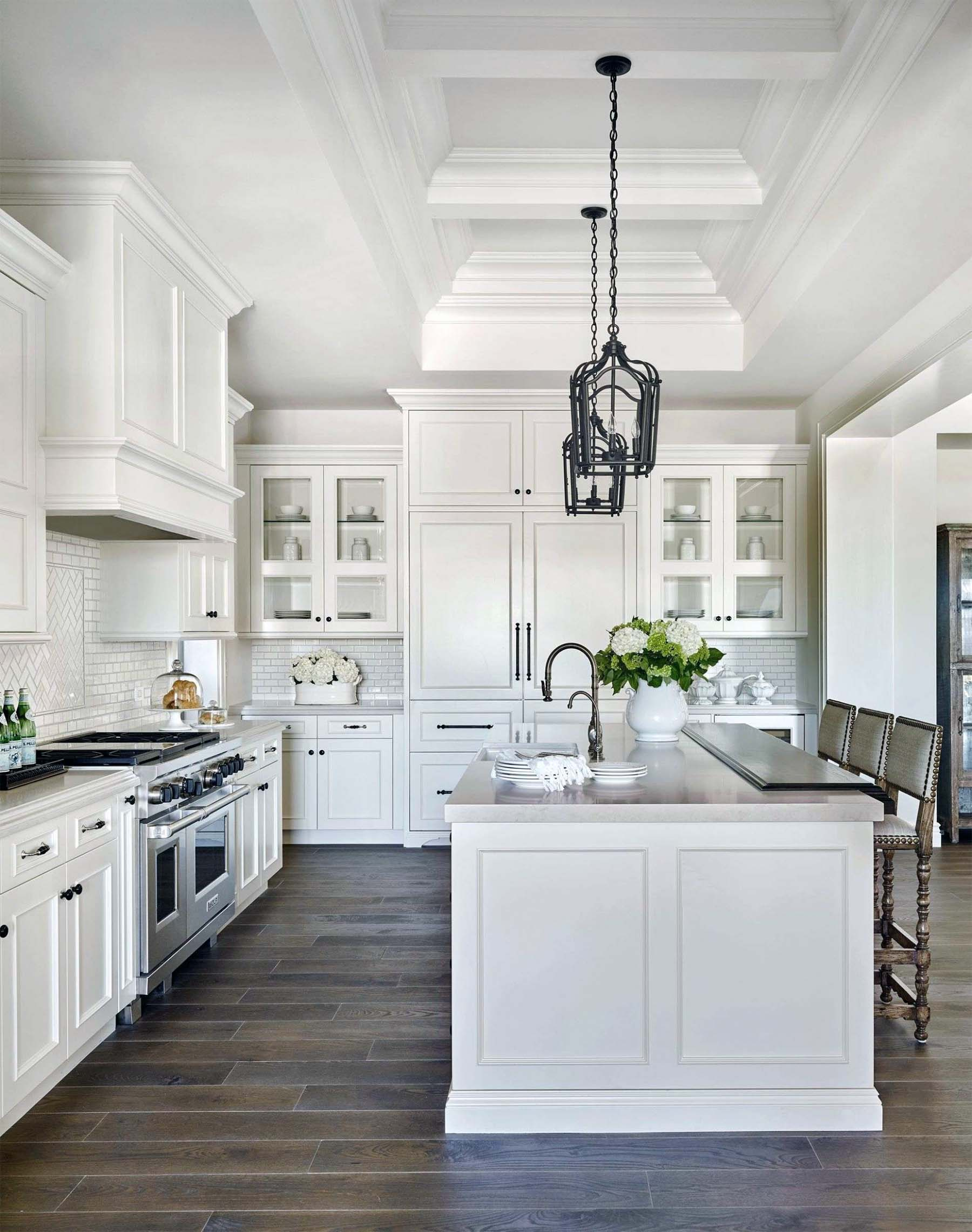 luxury kitchen design ideas white cabinets with dark tile floors Gambrick luxury home builders NJ