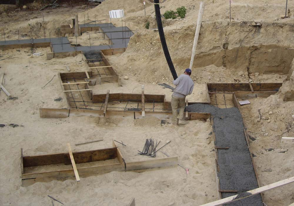 NJ Passive House Builder - poured footing forms - Gambrick