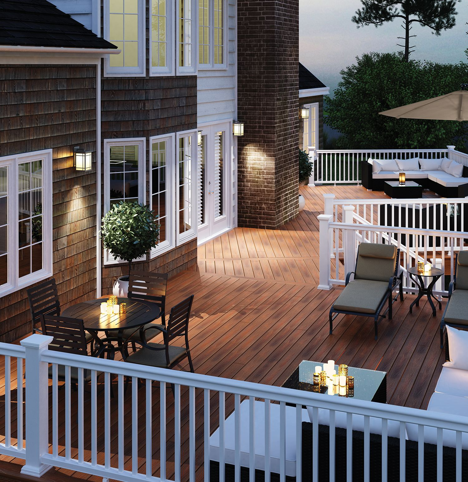 NJ Trex deck with white rails cedar shake siding beautiful patio furniture