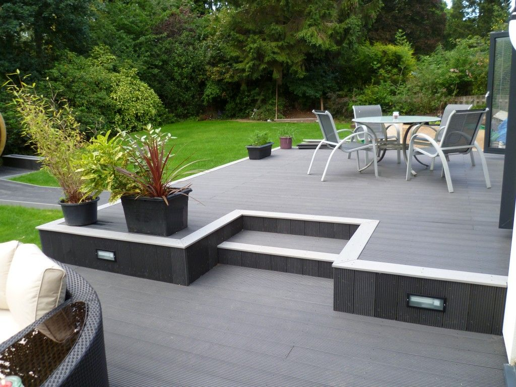 Jersey Shore NJ Gray deck with white border and deck lighting