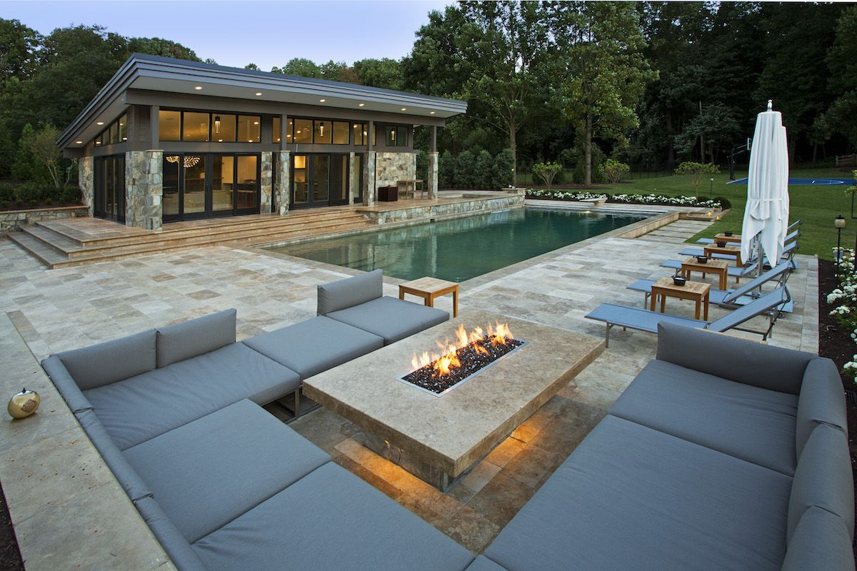 NJ Contemporary home with in ground pool and real stone patio & fire pit
