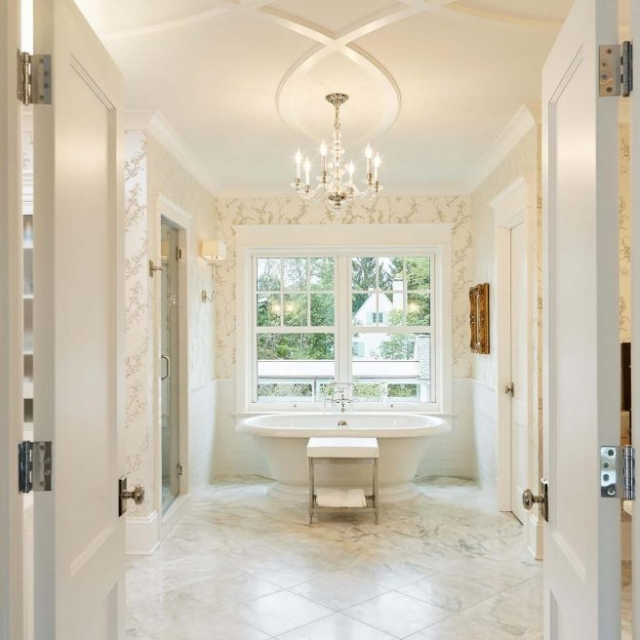 exquisite master bathroom french doors freestanding white soaking tub crystal tub chandelier