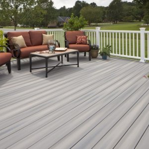 Monmouth County NJ Gray Azek deck with white rails brown patio furniture