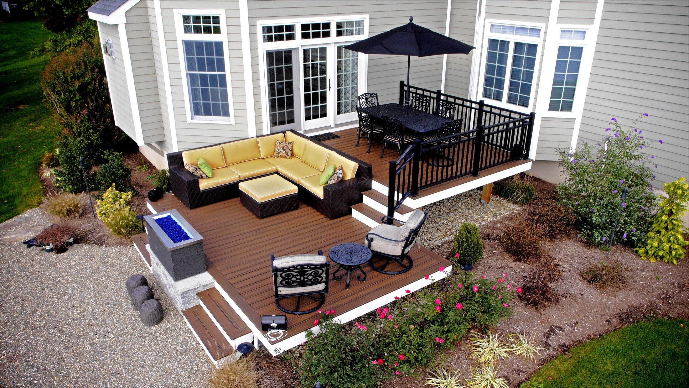 Monmouth NJ Brown Multi Level Trex Deck with Azek Trim Black railings