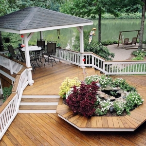 NJ leakfront real wood deck with wood rails and custom deck gazebo