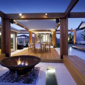 NJ Contemporary Ipe deck with tile and wood benches fire pit, modern deck lighting