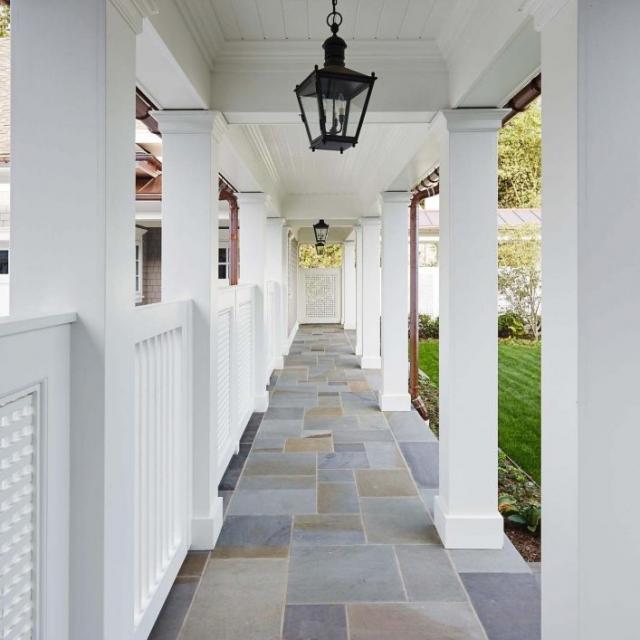 covered bluestone walkway custom azek columns bead board ceiling copper gutters