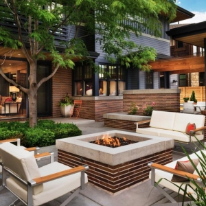 NJ Modern home design brick and concrete, metal patio seating, cream cushions, brick fire pit