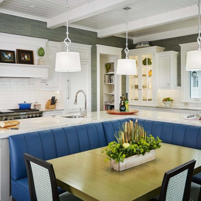 custom eat in kitchen with blue bench seating white and gray exposed kitchen beams